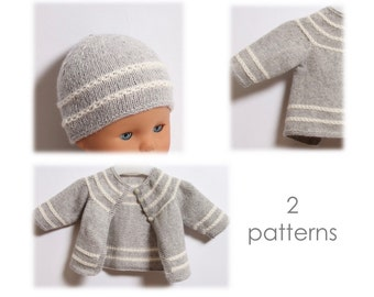 Knitting Pattern Baby Set 2 Patterns Instructions in English PDF Instant Download