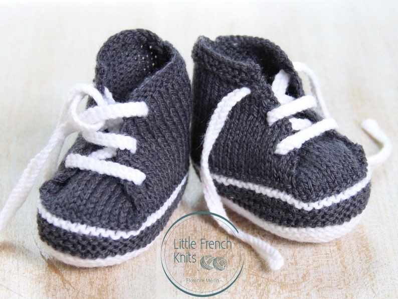 Baby Knitting Pattern Sneakers Booties Shoes Instructions in image 0