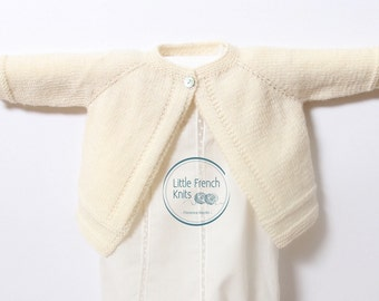Knitting Pattern Baby Wool Cardigan Instructions in English PDF Sizes Newborn to 12 months