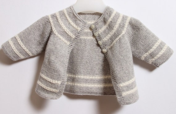 Baby Cardigan / Knitting Pattern Instructions in English / PDF Instant Download / Sizes Newborn / 3 / 6 / 12 months