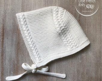 Baby Knitting Pattern Prince Louis Royal Baby Bonnet Hat Wool English Instructions PDF Size newborn to 3 months PDF Instant Download