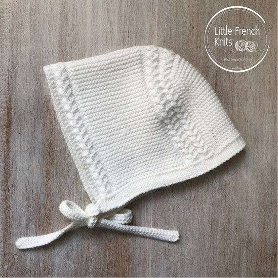 Baby Knitting Pattern Prince Louis Royal Baby Bonnet Hat Wool French Instructions PDF Size newborn to 3 months PDF Instant Download