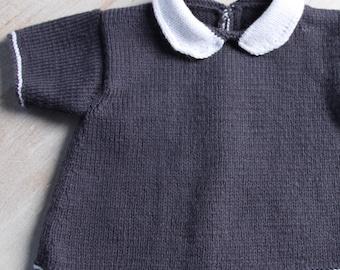 Baby Knitting Pattern Cardigan Sweater Wool French Instructions PDF Size newborn to 18 months