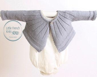 Baby Knitting Pattern Cardigan Sweater Wool English Instructions PDF Size 6 and 12 months