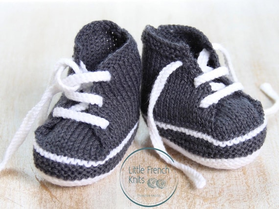 Baby Knitting Pattern Sneakers Booties Shoes Instructions in French PDF Size Newborn to 3 months