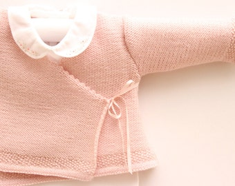 Baby Knitting Pattern Cardigan Sweater Wool French Instructions PDF Sizes Newborn to 12 months PDF Instant download