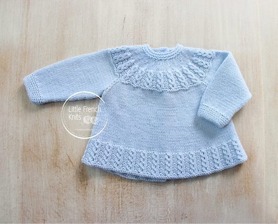 """Vintage Baby Crochet Pattern Cardigan 17-19/"""" 3-12 months  4 ply Repro"""