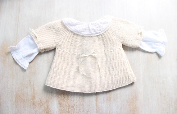 Baby Brassiere / Knitting Pattern / French Instructions / PDF Instant Download / 5 Sizes : Newborn / 3 / 6 / 12 and 18 months