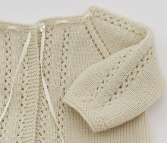 Lace Cardigan Instructions in French PDF Instant download 3 Sizes : 6 / 12 and 24 months