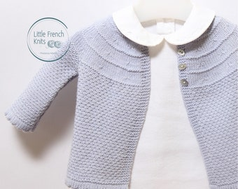 Baby Knitting Pattern Cardigan Sweater Wool French Instructions PDF Sizes 3 to 9 months