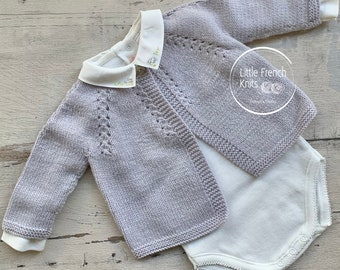 Knitting Pattern Baby Cardigan Sweater Instructions in English Sizes Newborn to 6 months