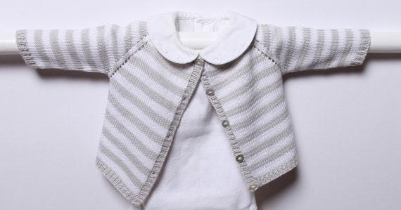Knitting pattern Striped Cardigan / Instructions in French / PDF Instant Download / Sizes : newborn / 3 / 6 / 9 /12 months