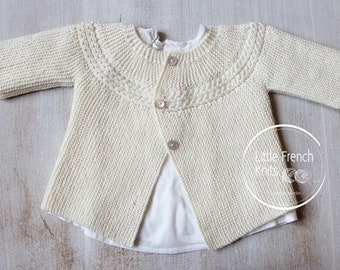 Knitting Pattern Baby Cardigan Sweater Princess Charlotte Instructions in French PDF Instant Download Sizes Newborn to 6 months