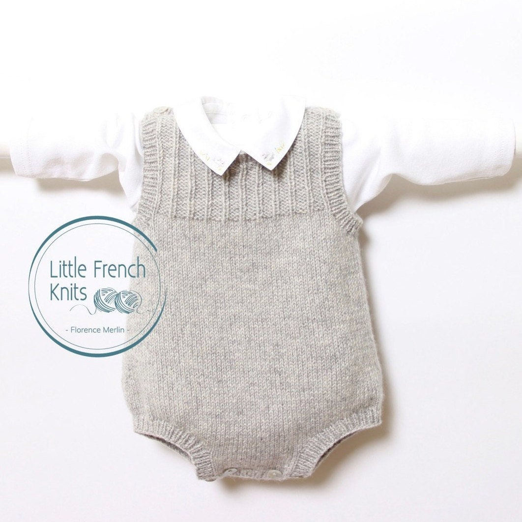88c038ba7 knit Baby Romper Onesie Pattern Instructions in English PDF Instant ...