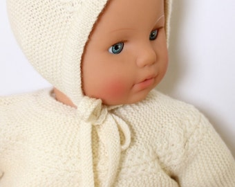 Baby Knitting Pattern Princess Charlotte Royal Baby Bonnet Hat Wool French Instructions PDF Size newborn PDF Instant Download