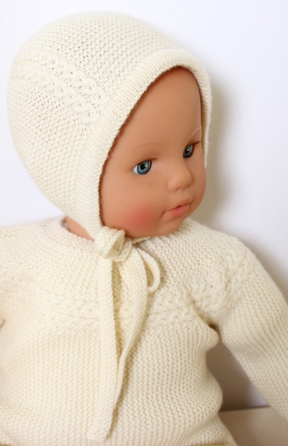 27 / Baby Bonnet Princess Charlotte/ Knitting Pattern Instructions in English /  PDF Instant Download / Size : Newborn