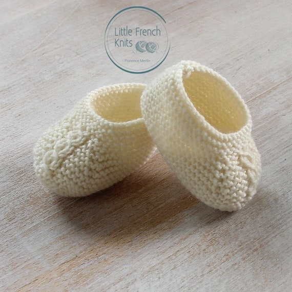28 / Baby Booties Princess Charlotte / Knitting Instructions in English /  PDF Instant Download / 3 Sizes : Newborn / 3 months / 6 months