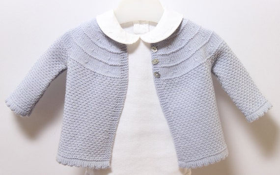 Baby Jacket / Knitting Pattern Instructions in French / PDF Instant Download / 3 Sizes : 3 / 6 and 9 months