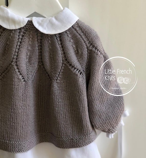 Knitting Pattern Baby Wool Cardigan Instructions in French PDF Sizes Newborn to 24 months