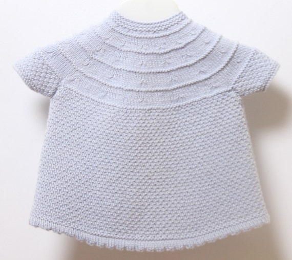 Baby Dress / Knitting Pattern Instructions in French / PDF Instant Download / Sizes 3 / 6 / 9 months