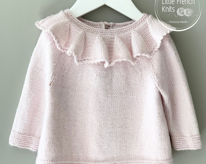 Featured listing image: Knitting Pattern Baby Sweater Instructions in English PDF Instant Download Sizes Newborn to 4 years