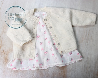 Baby Knitting Pattern Cardigan Sweater Wool French Instructions PDF Sizes Preemie to 24 months