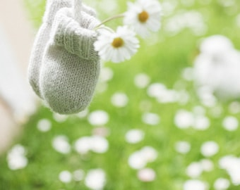 Knitting Pattern Baby Wool Mittens Instructions in French PDF Sizes Newborn to 18 months