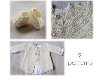 Baby Set Knitting Instructions in English PDF Instant Download Sizes Newborn to 6 months