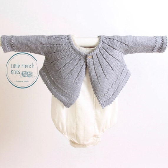 Baby Knitting Pattern Cardigan Sweater Wool French Instructions PDF Size 6 and 12 months