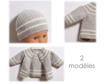 Knitting Pattern Baby Set 2 Patterns Instructions in French PDF Instant Download
