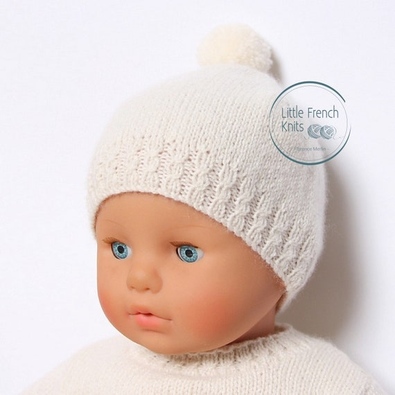 Baby Knitting Pattern Bonnet Hat Wool French Instructions PDF Sizes newborn to 18 months