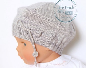 Baby Knitting Pattern Bonnet Hat Wool French Instructions PDF Size newborn to 18 months
