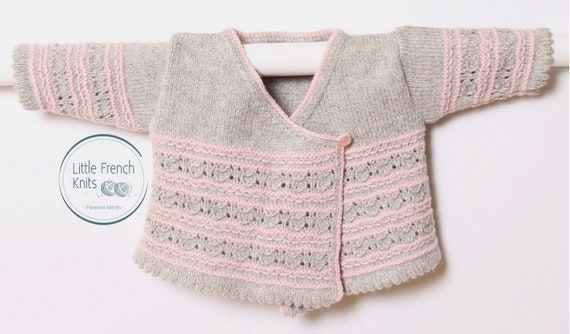 Baby Wrap Cardigan / Instructions in English  / PDF instant download / 4 Sizes : Newborn, 1, 3 and 6 months / Knitting pattern