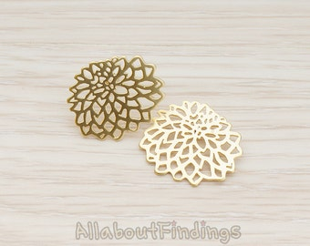 ERG110-MG // Matte Gold Plated Chrysanthemum Mum Flower Ear Post, 2 Pc