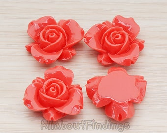 CBC200-01-DC // Deep Coral Colored Narcissus Flower Flat Back Cabochon, 4 Pc