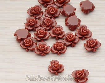 CBC200-03-CH // Chocolate Colored Tiny Narcissus Flower Flat Back Cabochon, 6 Pc