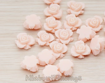 CBC200-03-LP // Light Pink Colored Tiny Narcissus Flower Flat Back Cabochon, 6 Pc
