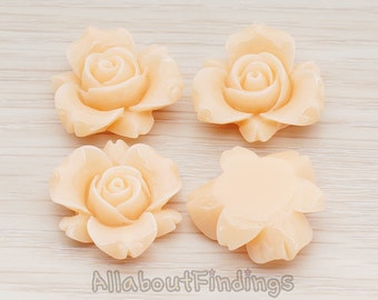 CBC200-01-PE // Peach Colored Narcissus Flower Flat Back Cabochon, 4 Pc