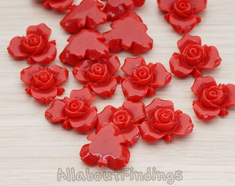 CBC200-02-DR // Dark Red Colored Small Narcissus Flower Flat Back Cabochon, 4 Pc