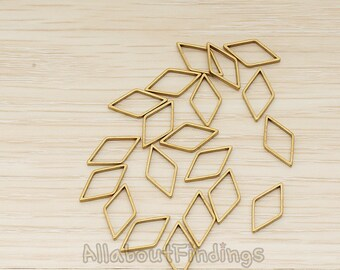 PDT1025-01-RB // Raw brass Small Diamond Shaped link Pendant, 6 Pc