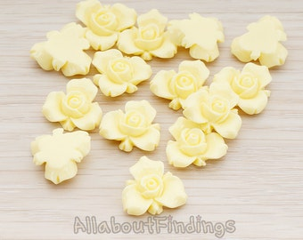 CBC200-02-MY // Milk Yellow Colored Small Narcissus Flower Flat Back Cabochon, 4 Pc
