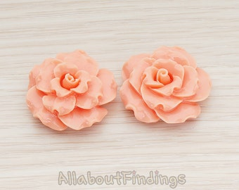 CBC188-CO // Coral Colored Ruffle Rose Flower Flat Back Cabochon, 2 Pc