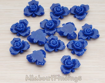 CBC200-02-DB // Dark Blue Colored Small Narcissus Flower Flat Back Cabochon, 4 Pc