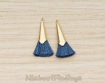 PDT1259-01-G-BL // Blue Silk Gold Plated Simple Corn Top Small Tassel Pendant, 2 Pc