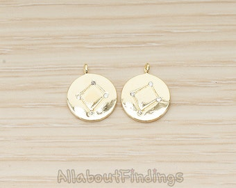 PDT1562-11-G // Glossy Gold Plated Zodiac Constellations Libra Cubic Zirconia Setting Round Charm Pendant, 2 Pc