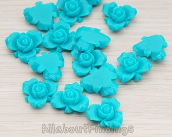 CBC200-02-TE // Teal Colored Small Narcissus Flower Flat Back Cabochon, 4 Pc