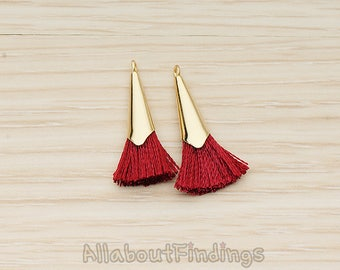 PDT1259-01-G-RE // Red Silk Gold Plated Simple Corn Top Small Tassel Pendant, 2 Pc