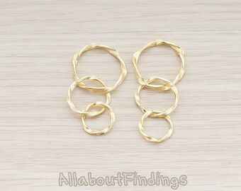 PDT152-MG // Matte Gold Plated  Triple Twisted Link Pendant, 2 Pc