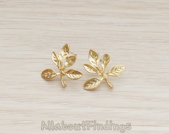 ERG220-MG // Matte Gold Plated Five Leaves Tree Branch Ear Post, 2 Pc