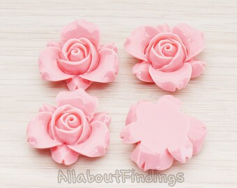 CBC200-01-RP // Rose Pink Colored Narcissus Flower Flat Back Cabochon, 4 Pc